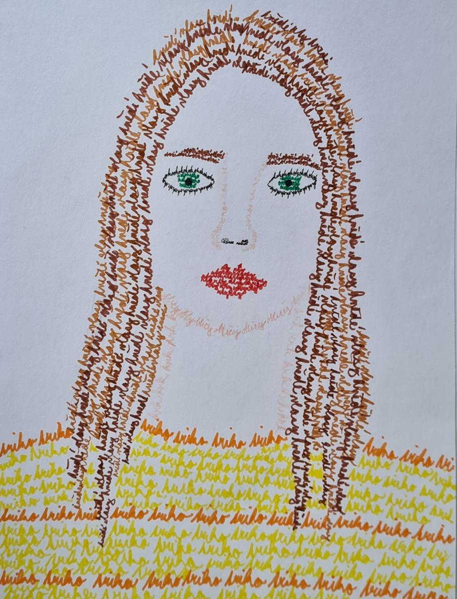 Autoportrét-kaligram-V.Baumannová-9.r.
