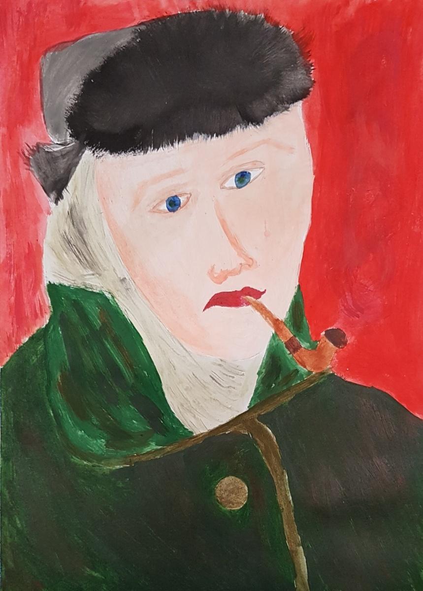 Gogh-Autoportrét-parafráze-K.Holá-9.r.