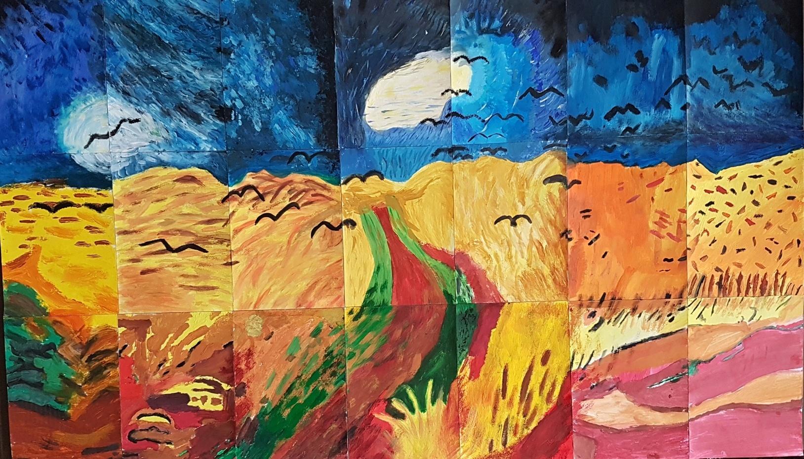 Gogh-Havrani-nad-obilným-polem-parafráze-společná-práce-7.C