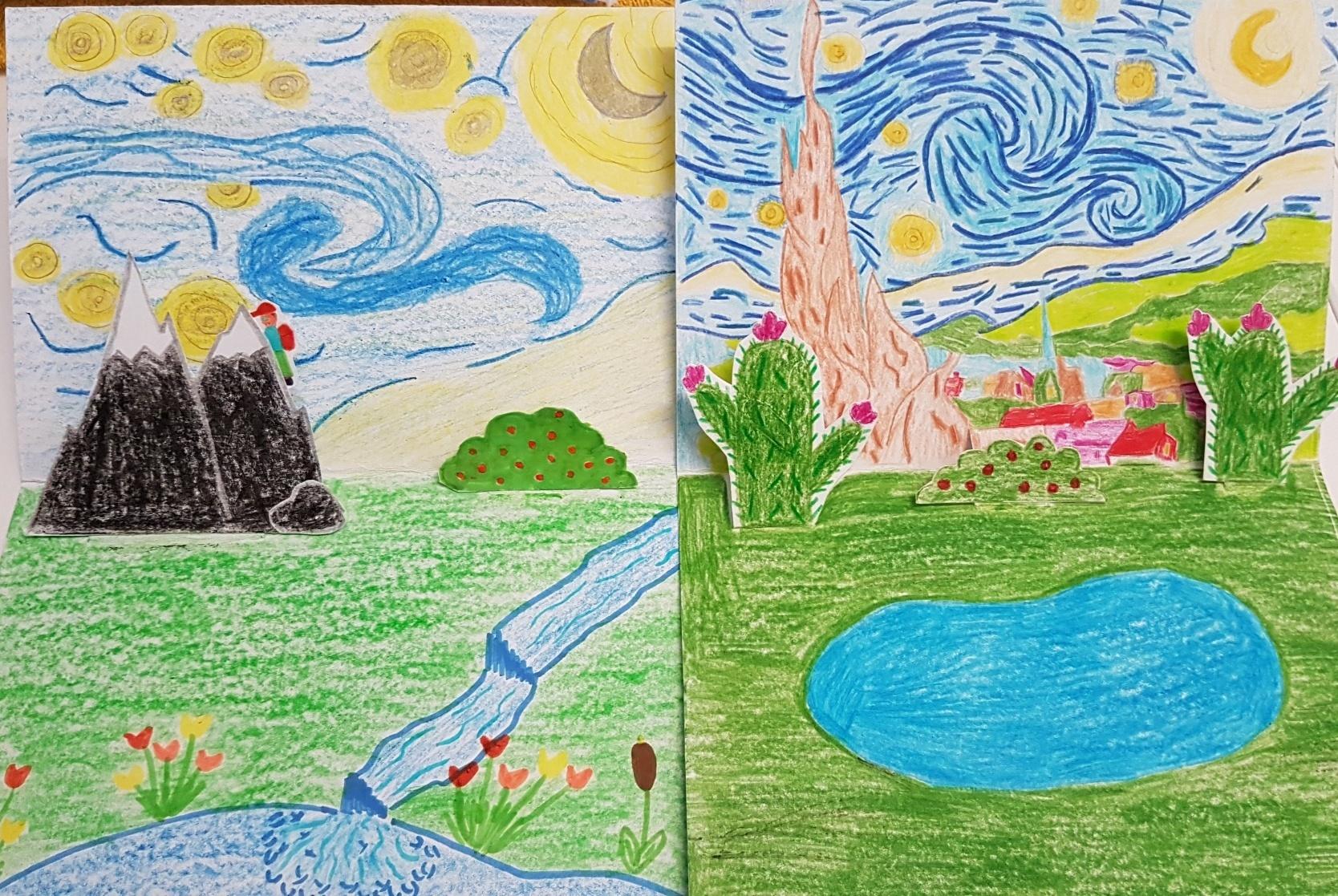 Gogh-Starry-Night-parafráze-3D-Vozárová-Bauzová-7.r.