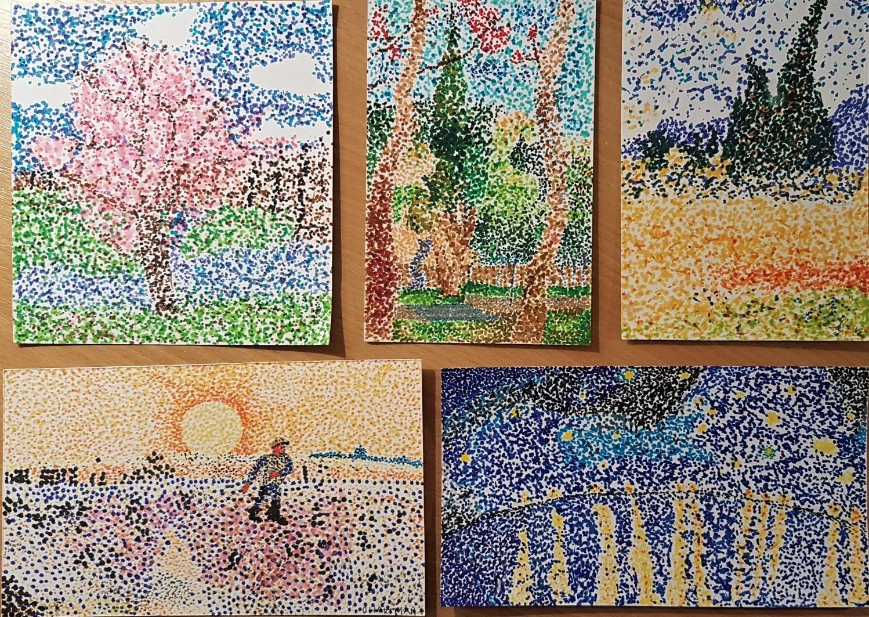 Gogh-parafráze-obrazu-pointilismus-KrálíčkováGiblováGalkoHartmanBerková-7.r.