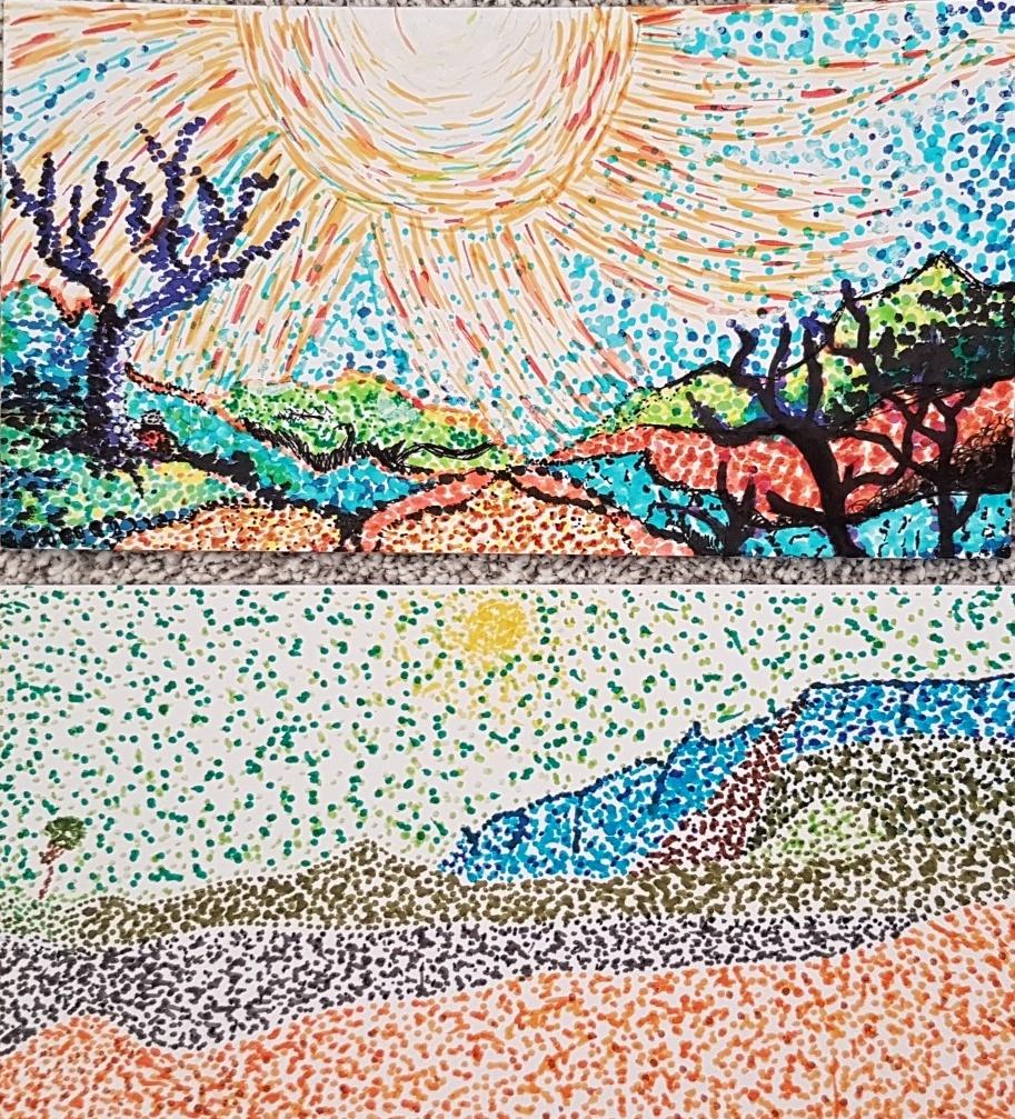 Gogh-parafráze-obrazu-pointilismus-ZedníkováKrejčí-7.r.