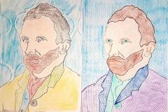 Gogh-Autoportrét-frotáž-Čiháková-Blažková-9.r.