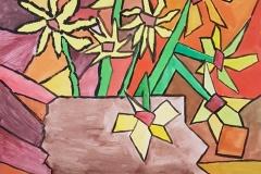 Gogh-Slunečnice-kubistická-parafráze-Mitalová-Kaufnerová-9.r.